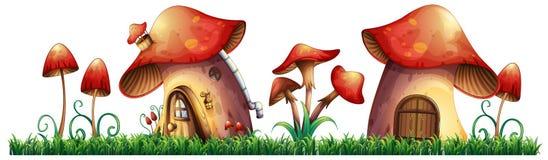 Mushroom houses in garden. Illustration Stock Photo