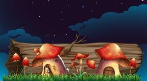 Mushroom houses in garden at night Stock Image