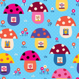Mushroom houses kids pattern Royalty Free Stock Photos