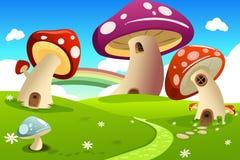 Mushroom houses. A vector illustration of mushroom fantasy house Royalty Free Stock Photography