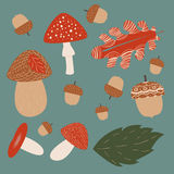 Mushroom hunting vector illustrations on turquoise background Royalty Free Stock Photography