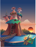 Mushroom hut royalty free stock photography