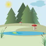 Mushroom. Image of forest lake with reeds, forest, meadow, sun vector illustration