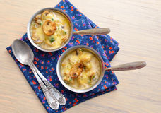 Mushroom Julien with sour cream and cheese - Cocotte at Cooking Royalty Free Stock Image