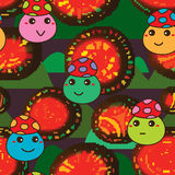 Mushroom jump game circle pixel seamless pattern Stock Photos