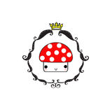 Mushroom king color. Mushroom with crown and frame design of color Stock Photography
