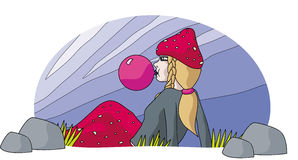 Mushroom Lady and gum balloon Stock Photos