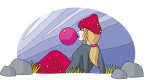 Mushroom Lady and gum balloon. Fairy tale illustration of girl Stock Illustration