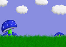 Mushroom Landscape Illustr. Stock Photos
