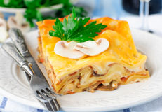 Mushroom Lasagna Stock Photos