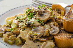 Mushroom, Leek and Tarragon Pasta Stock Photography