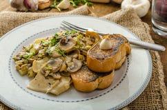 Mushroom, Leek and Tarragon Pasta Royalty Free Stock Photo