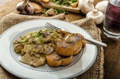 Mushroom, Leek and Tarragon Pasta Royalty Free Stock Images