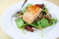 Mushroom & Lentil Pan Fried Salmon royalty free stock image