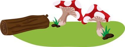 Mushroom and log Royalty Free Stock Photos