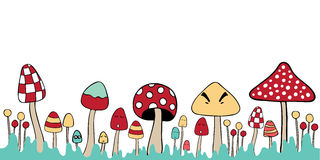 Mushroom mixed illustration blank note Royalty Free Stock Image