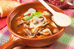 Mushroom and noodle soup Royalty Free Stock Photos