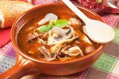 Mushroom and noodle soup. Healthy vegetarian mushroom and noodle thick soup Royalty Free Stock Photos