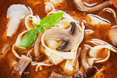 Mushroom and noodle soup Stock Images
