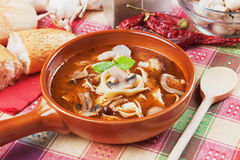 Mushroom and noodle soup. Healthy vegetarian soup with mushrooms and noodles Royalty Free Stock Image