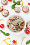 Mushroom and noodle soup Stock Image