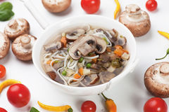 Mushroom and noodle soup Stock Photography