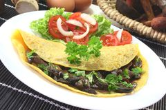 Mushroom omelet. An omelet stuffed with wild mushrooms and fresh salad royalty free stock image