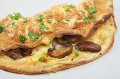Mushroom Omelet. Fresh omelet filled with sauteed mushrooms and cheese stock photo