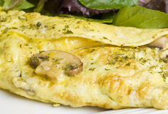 Mushroom Omelet with Green Salad Stock Images