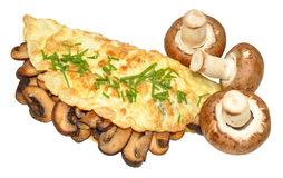 Mushroom Omelette. Freshly cooked mushroom omelette folded in half with chopped chives garnish, isolated on a white background stock photography