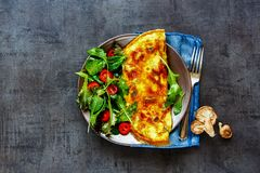 Mushroom omelette and salad royalty free stock photography