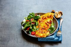 Mushroom omelette and salad royalty free stock photo