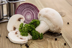 Mushroom with Onion and Parsley Stock Photos