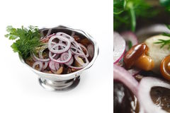 Mushroom and Onion Salad. Button mushroom, onion, parsley and dill salad in silver dish Royalty Free Stock Photos