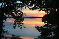 Mushroom. Orange pond in sunset in south Czech Republic Royalty Free Stock Photos
