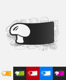 Mushroom paper sticker with hand drawn elements Royalty Free Stock Photography