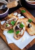 Mushroom and parmesan bruschetta Stock Photos