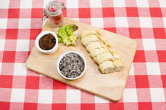 Mushroom pate with French baguette. Mushroom pate with relish lettuce and tomatoes Royalty Free Stock Photo