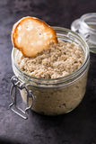 Mushroom pate in a jar Royalty Free Stock Photography