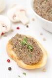 Mushroom pate on toast, vertical Royalty Free Stock Photos