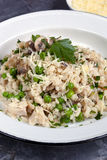 Mushroom Pea and Chicken Risotto with Parmesan Stock Images