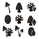 Mushroom pictogram sets Stock Photos