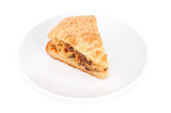 Mushroom pie. On plate, isolated on white background Stock Photo