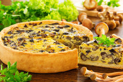 Mushroom pie with cheese Stock Image