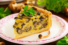 Mushroom pie with cheese Royalty Free Stock Photography