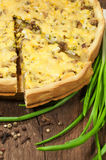 Mushroom pie with green onions Royalty Free Stock Images