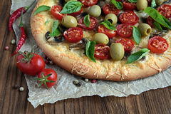 Mushroom pizza with cherry tomatoes and basil Stock Images