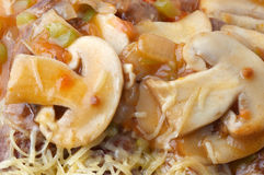 Mushroom pizza closeup Stock Photo