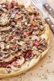 Mushroom pizza closeup Stock Images