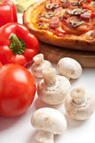 Mushroom pizza with ingredients Stock Photo